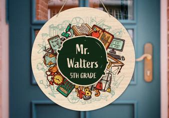 Custom Teacher School Chalkboard - Door Hanger