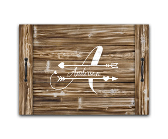 Custom Heart Arrows Monogram - Noodle Board Stove Top Cover