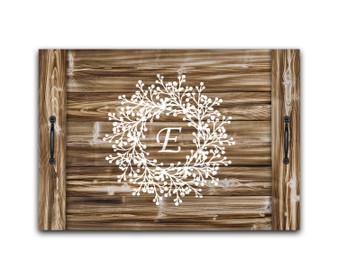Custom Wreath Monogram - Noodle Board Stove Top Cover