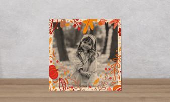 Autumn Heart Frame - Wood Photo Tile Square
