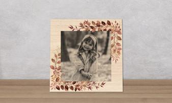 Botanical Watercolor Frame - Wood Photo Tile Square