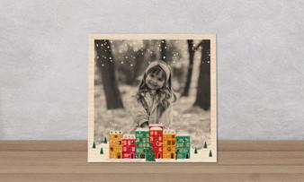 Christmas Town Frame - Wood Photo Tile Square