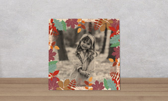 Colorful Leaves Frame - Wood Photo Tile Square
