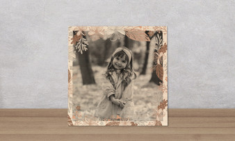 Floral Autumn Berry Frame - Wood Photo Tile Square