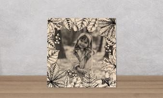 Vintage Foliage Frame - Wood Photo Tile Square