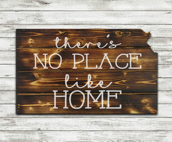 """There's No Place Like Home""- Torched and State Cut Out Wood"