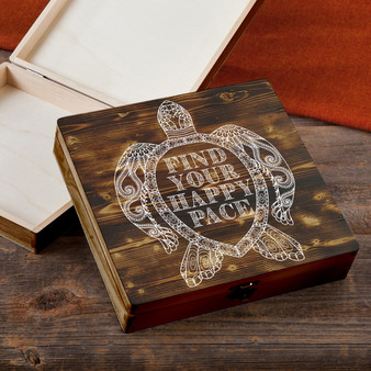 Find Your Happy Pace - Torched Wood Gift Box