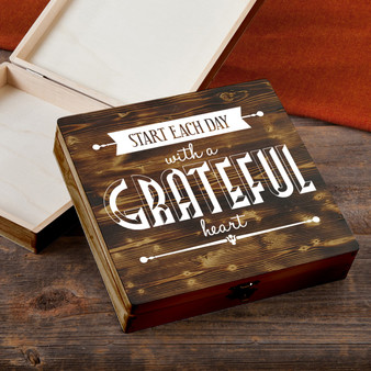 Start Each Day - Torched Wood Gift Box