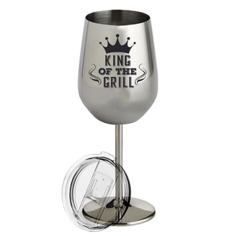 King of the Grill- Metal Wine Glass