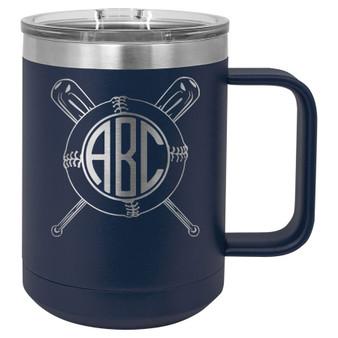 Baseball Softball Monogram - 15 oz Coffee Mug