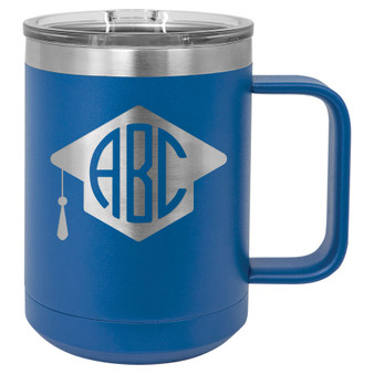 Graduation Cap Monogram - 15 oz Coffee Mug