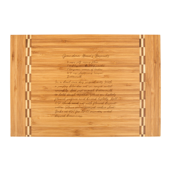 Recipe Image Transfer - Bamboo Cutting Board with Butcher Block Inlay