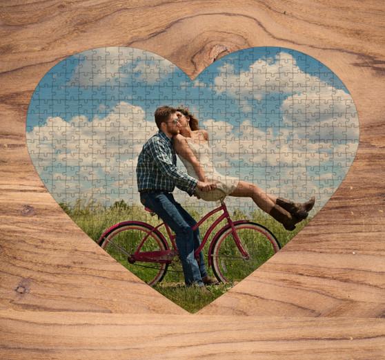 Custom Laser Cut Heart Wood Puzzle