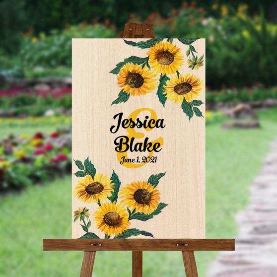 Watercolor Sunflowers - Wedding Signature Board