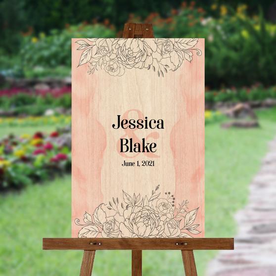 Modern Watercolor Roses - Wedding Signature Board