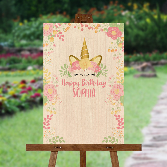 Floral Unicorn - Custom Signature Board