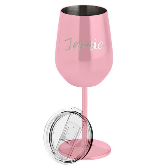Custom Name - Metal Wine Glass