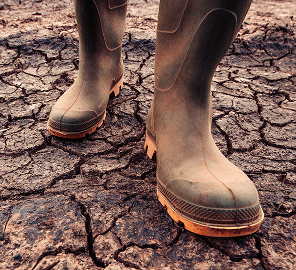 boots on damaged soil