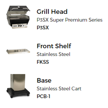 Broilmaster P3-SXN Natural Gas Grill On Stainless Steel Cart W/ SS Front Shelf