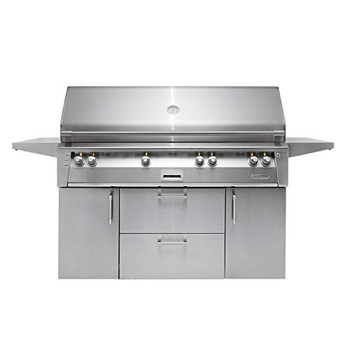 """Alfresco 56"""" Deluxe Cart Grill, 3 Burner, Rotis, Double Door, Double Drawer, Sear Zone, NG - ALXE-56BFGC-NG"""