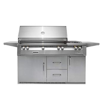 "Alfresco 56"" Refig Cart Grill, 3 Burner, Side Burner, Rotis, Double Door, Double Drawer, Sear Zone, LP - ALXE-56SZR-LP"