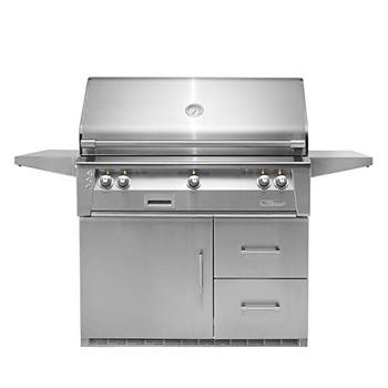 """Alfresco 42"""" Refig Cart Grill, 3 Burner, Rotis, Single Door, Double Drawer, LP - ALXE-42RFG-LP"""