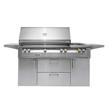 "Alfresco 56"" Deluxe Cart Grill, 3 Burner, Side Burner, Rotis, Double Door, Double Drawer, NG - ALXE-56C-NG"