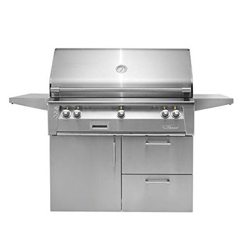 "Alfresco 42"" Cart Grill, 3 Burner, Rotis, Single Door, Double Drawer, Sear Zone, NG - ALXE-42SZCD-NG"