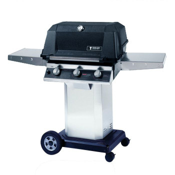 MHP Tri-Burn W3G4DD Propane Gas Grill With SearMagic Grids On Stainless Cart