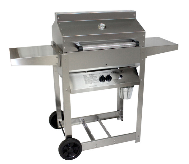 Phoenix Grill SD Stainless Steel Propane Gas Riveted Grill Head On Stainless Steel Cart