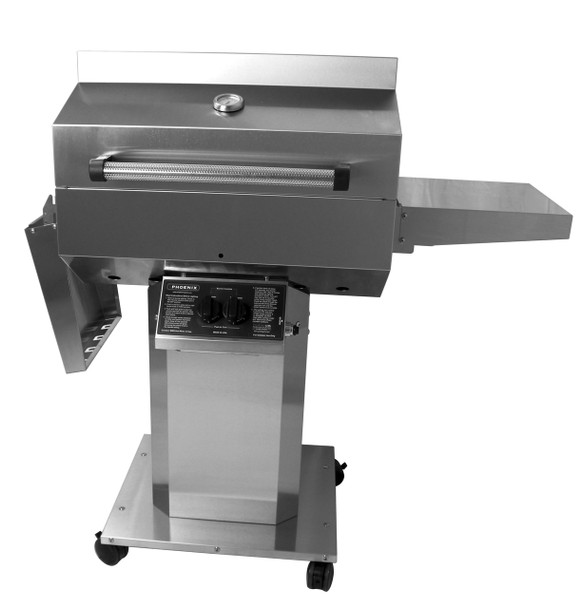 Phoenix Grill SD Stainless Steel Propane Gas Riveted Grill Head On Stainless Steel Pedestal Cart