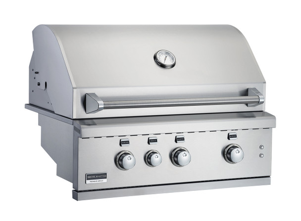 Broilmaster BSG343N 34-in Built-In Gas Grill with 3 Burners, Work Lights, Rear IR Burner, and LED controls