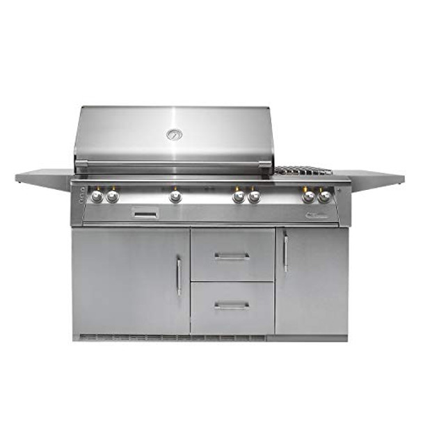 """Alfresco 56"""" Refig Cart Grill, 3 Burner, Side Burner, Rotis, Double Door, Double Drawer, Sear Zone, NG - ALXE-56SZR-NG"""
