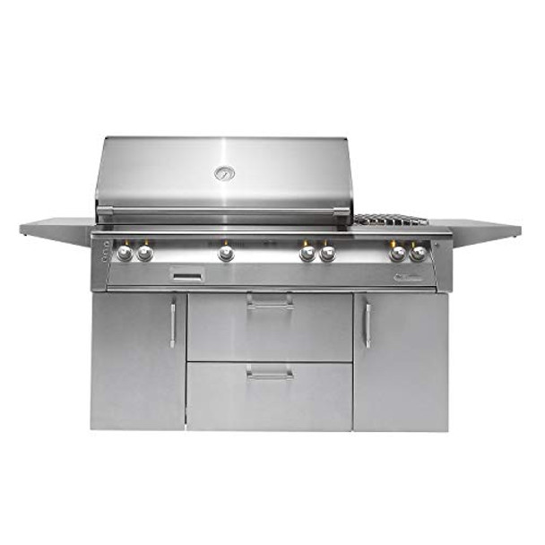 "Alfresco 56"" Deluxe Cart Grill, 3 Burner, Side Burner, Rotis, Double Door, Double Drawer, NG - ALXE-56C-NG"