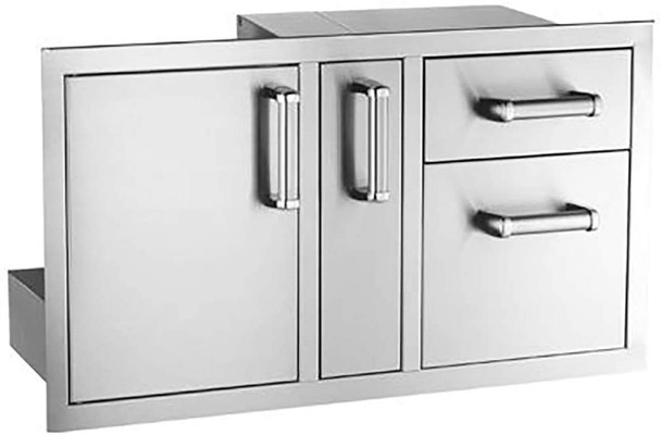 S&D   Fire Magic Flush Mount Access Door with Platter Storage and Dual Drawer