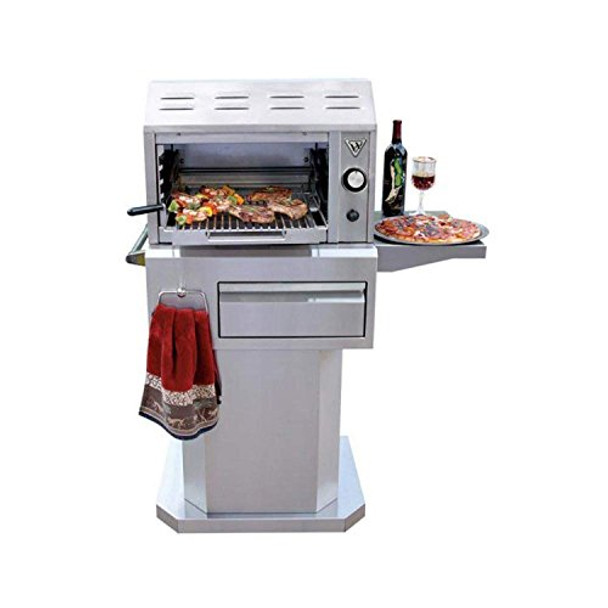 Twin Eagles 24-Inch Natural Gas Salamangrill with Pizza Stone on Pedestal  Cart