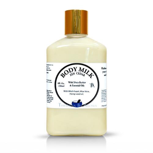 zen cedar body milk essential oil by therapia by aroma miami