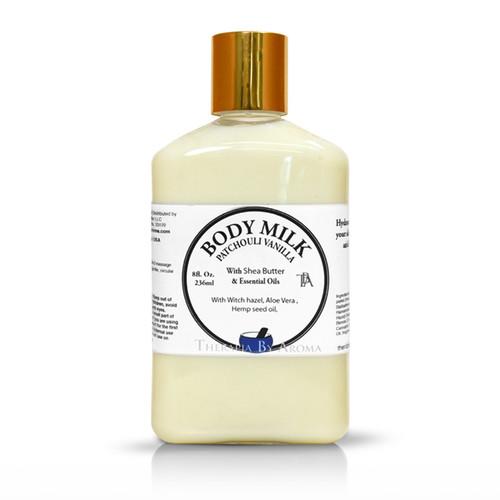 patchouli vanilla body milk essential oil by therapia by aroma miami