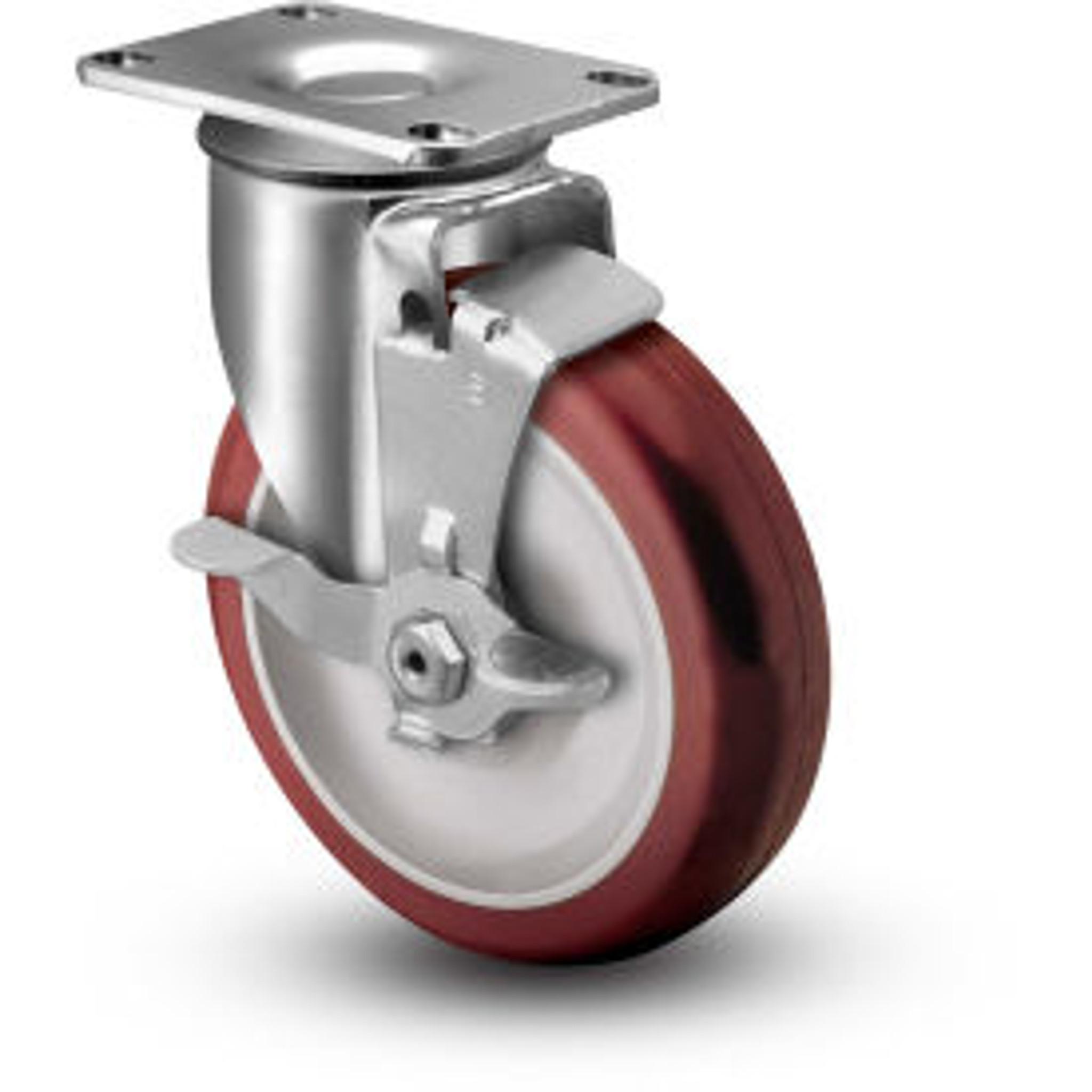 """10/"""" x 3-1//2/"""" Pneumatic Wheel Caster 2 Swivels /& 2 Swivels w//Brake Foam-Flat Free"""