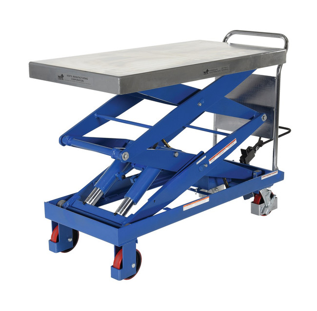DOUBLE SCISSOR STEEL HYDRAULIC ELEVATING CART-1500-D-TS - 1500LBS CAPACITY