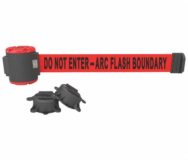 "30' Magnetic Wall Mount - Red ""Do Not Enter - Arc Flash Boundary"" Banner"