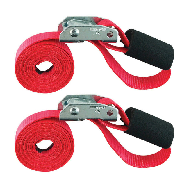 "CINCH STRAP 1""x6' CAM RED 2 PACK (Bungee Cord Alternative)"
