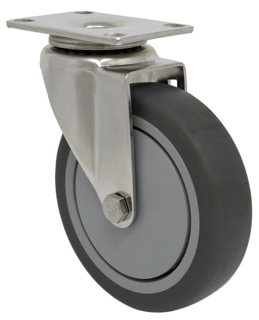 """STAINLESS STEEL 5"""" TPR RUBBER SWIVEL CASTER - 300LBS CAPACITY -  15TP50GI4S06YY"""