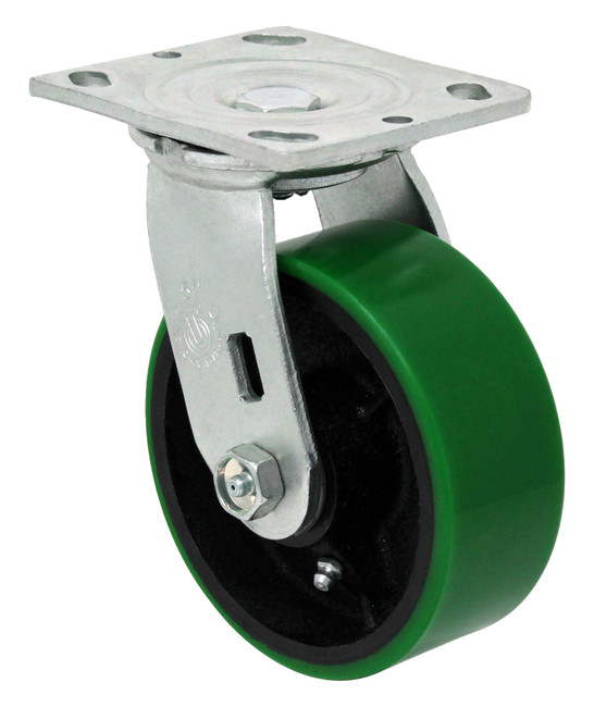 "4"" POLYURETHANE ON CAST IRON SWIVEL - 800LBS CAPACITY - 27PU40JG0417YY"
