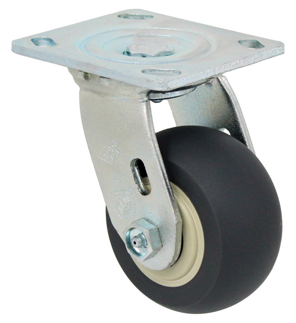 "4"" ROUND TREAD TPR RUBBER SWIVEL CASTER - 300LBS CAPACITY -27TP40JY04117YY"