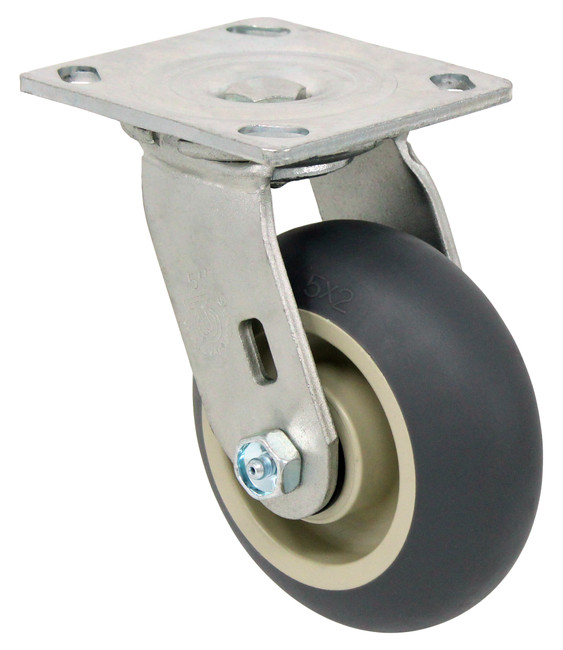 "5"" ROUND TREAD TPR RUBBER SWIVEL CASTER - 350LBS CAPACITY - 27TP50JY04117YY"