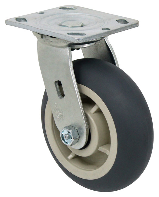 "6"" ROUND TREAD TPR RUBBER SWIVEL CASTER - 500LBS CAPACITY 27TP60JY0417YY"