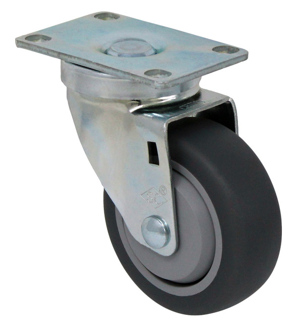 "3.5"" TPR RUBBER SWIVEL CASTER W TOP PLATE - 230LBS CAPACITY - 75TP35GI4406YY"