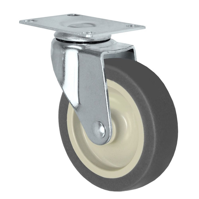 """LINCO Light Duty Thermoplastic Rubber (TPR) Swivel Caster with Top Plate and Brake 3"""" (100 LBS Cap)"""