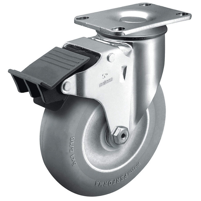 "3.5"" ROAD CASE CASTER - GREY ROUND TREAD DONUT TPR - TOTAL LOCK BRAKE"